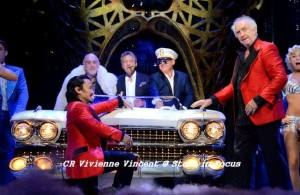 Claude-Michel, Alain and Cameron with Jon Jon Briones and Jonathan Pryce