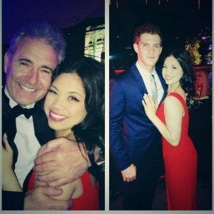 Eva Noblezada, the new Kim, with original Chris, Simon Bowman, and new Chris, Alistair Brammer, at the after show party